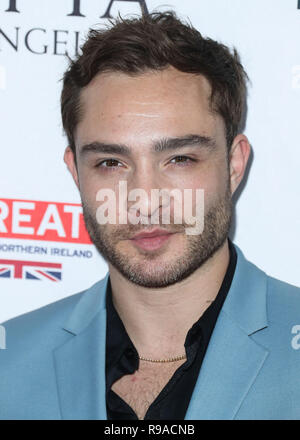 BEVERLY HILLS, LOS ANGELES, CA, USA - SEPTEMBER 16: Actor Ed Westwick  arrives at the BBC America BAFTA Los Angeles TV Tea Party 2017 held at the Beverly Hilton Hotel on September 16, 2017 in Beverly Hills, Los Angeles, California, United States. (Photo by Xavier Collin/Image Press Agency) - Stock Photo