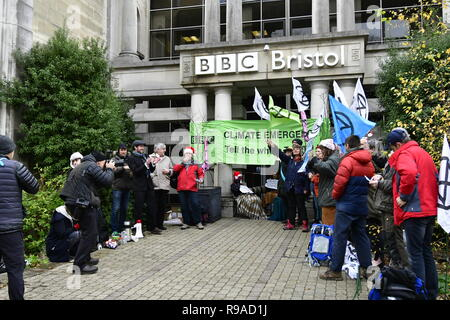 Bristol, UK. 21st December, 2018. Day of Action Protest demo outside of the B.B.C. Bristol, by people of Bristol Extinction Rebellion. Grandparents have been locked together since 0700 Hrs tis morning. Credit: Robert Timoney/Alamy Live News - Stock Photo