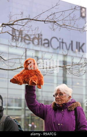 Salford, UK. 21st Dec, 2018. Extinction Rebellion campaigner holds up an Orangutan toy highlighting the threat they suffer in the wild. BBC, Media City, Salford, UK, 21st December 2018 (C)Barbara Cook/Alamy Live News Credit: Barbara Cook/Alamy Live News - Stock Photo