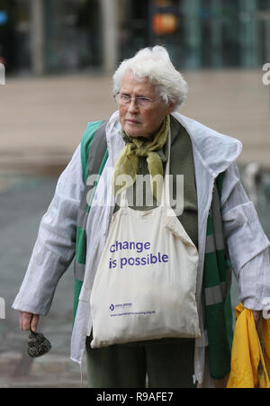 Salford, UK. 21st Dec, 2018. Green campaigner Ann Power with a bag with the words 'Change is possible' during a climate change protest outside the BBC, Media City, Salford, UK, 21st December 2018 (C)Barbara Cook/Alamy Live News Credit: Barbara Cook/Alamy Live News - Stock Photo
