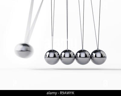 Balancing Balls Newton's Cradle, 3d rendering,conceptual image. - Stock Photo