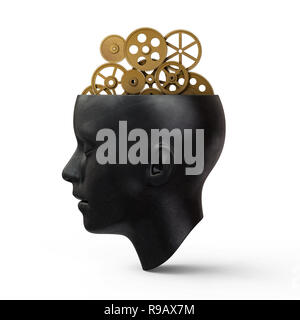 Head With Gears,3d rendering,conceptual image. - Stock Photo
