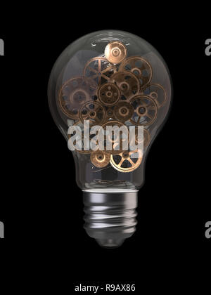 Light bulb and gears.3d rendering,conceptual image. - Stock Photo