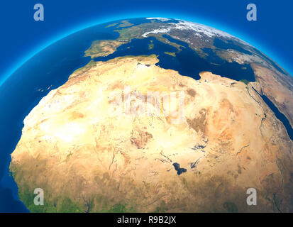 Physical map of the world, satellite view of North and central Africa. Globe. Hemisphere. Reliefs and oceans. 3d rendering - Stock Photo