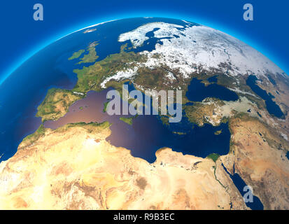 Physical map of the world, satellite view of Europe and North Africa. Globe. Hemisphere. Reliefs and oceans. 3d rendering - Stock Photo