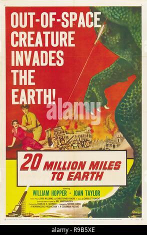 Original film title: 20 MILLION MILES TO EARTH. English title: 20 MILLION MILES TO EARTH. Year: 1957. Director: NATHAN JURAN. Credit: MORNINGSIDE PRODUCTIONS / Album - Stock Photo