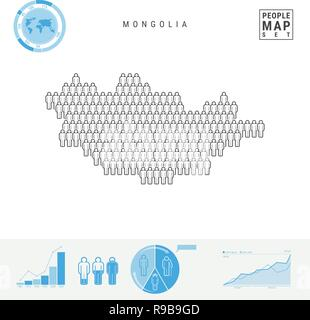 Mongolia People Icon Map. People Crowd in the Shape of a Map of Mongolia. Stylized Silhouette of Mongolia. Population Growth and Aging Infographic Ele - Stock Photo