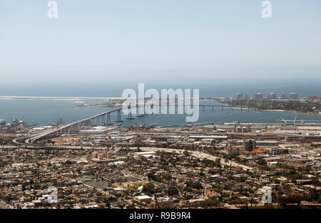 USA, California, San Diego, a view of Downtown San Diego with the bridge to Coronado Island in the distance - Stock Photo
