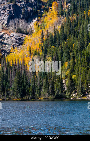 Bear Lake and surrounding mountains on a beautiful autumn day in Rocky Mountain National Park, Colorado - Stock Photo