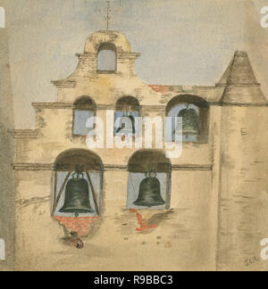 Antique c1890 watercolor painting, the bell wall at the Mission San Gabriel Arcangel. Mission San Gabriel Arcángel is a Roman Catholic mission and a historic landmark in San Gabriel, California. The settlement was founded by Spaniards of the Franciscan order in 1771. SOURCE: ORIGINAL PAINTING - Stock Photo