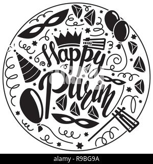 Happy purim greeting card. Black and white vector illustration with carnival mask, hats, crown, noise make and hamantaschen - Stock Photo
