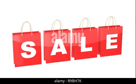 Red  shopping bags with the inscription Sale. Isolated on white background - Stock Photo