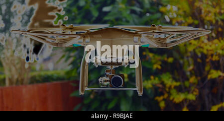 criminal activity, drone pilot , risk to commercial aircraft - Stock Photo