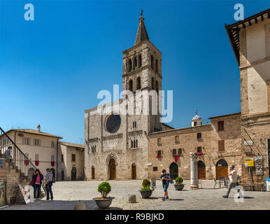 San Michele Arcangelo Church, 11th century, Romanesque style, at Piazza Silvestri in historic center of Bevagna, Umbria, Italy - Stock Photo
