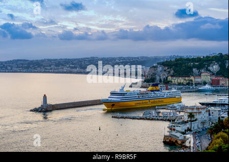 France, Alpes-Maritimes (06), Port of Nice. The ferries for Corsica Ferries making the connection between Nice and Corsica - Stock Photo