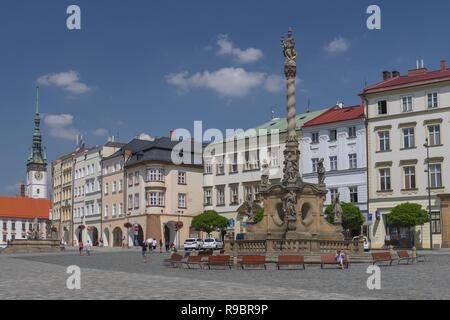 Marian Plague Column on Dolni Namesti in Olomouc, Moravia Czech Republic. - Stock Photo