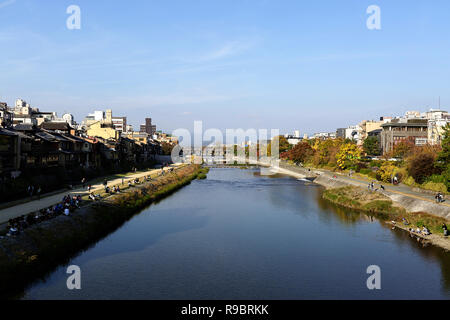 Kamo River, with pathways along the banks, Kyoto, Japan - Stock Photo