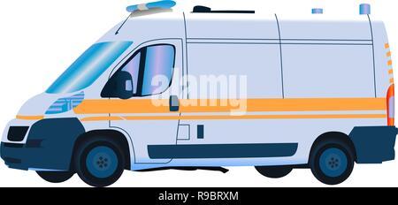 Speeding emergency ambulance on a city street. In motion blur. - Stock Photo