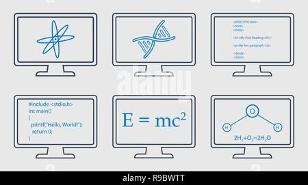 Different Subject Line Icon Set. Physics, Chemistry, Genetic Engineering and Computer Science symbols are on monitor. - Stock Photo