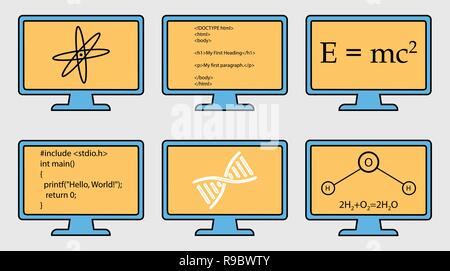 Different Subject Colorful  Icon Set. Physics, Chemistry, Genetic Engineering and Computer Science symbols are on monitor. - Stock Photo
