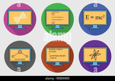 Different Subject Colorful  button Icon Set. Physics, Chemistry, Genetic Engineering and Computer Science symbols are on monitor. - Stock Photo