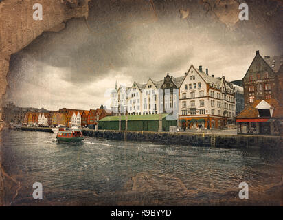 Wooden houses in harbour district of Bergen, Norway. Retro image in painting style - Stock Photo