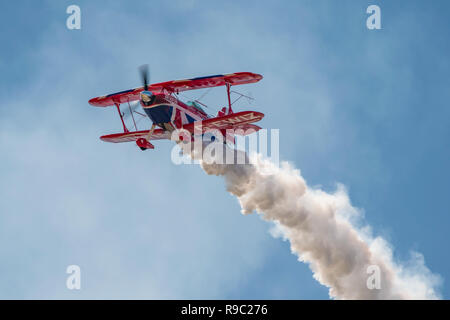 Rich Goodwin displaying the Pitts Special s-2s 'Muscle Biplane' at the RNAS Yeovilton International Air Day, UK on the 7th July 2018. - Stock Photo