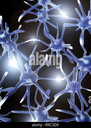 Impulses of neurons. 3d - Stock Photo