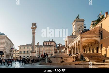 Beautiful view of Piazza Libertà with the Carrara fountain, Udine, Friuli Venezia Giulia, Italy - Stock Photo