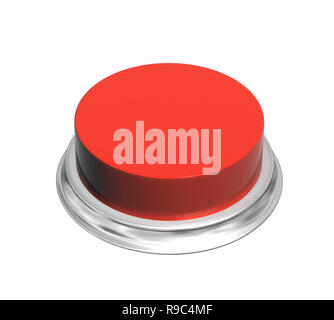 Button of red color. Object isolated on white background. 3d render - Stock Photo