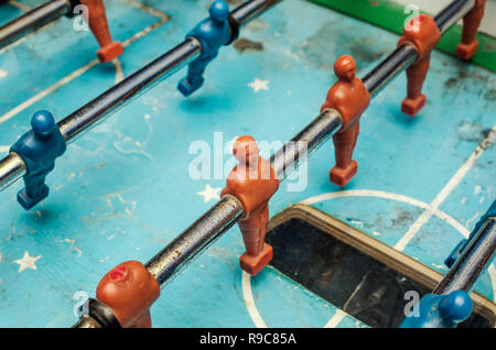 Old table football game, close up - Stock Photo