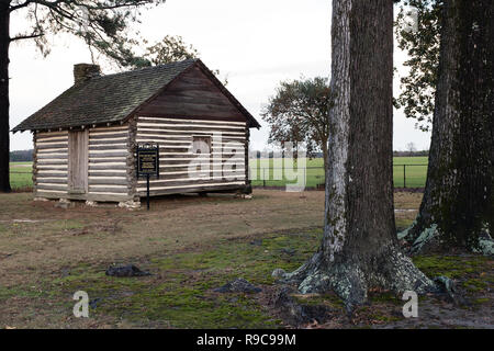 Civil War Era Slave Cabin at Averasboro Battle Field, NC-Circa 2018: Civil War Battlefield and Monuments - Stock Photo
