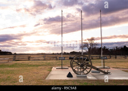 Cannon and Field at Averasboro Battle Field, NC-Circa 2018: Civil War Battlefield and Monuments - Stock Photo