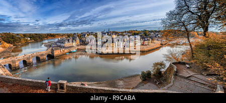 Panorama of Auray with Port De St Goustan - Stock Photo