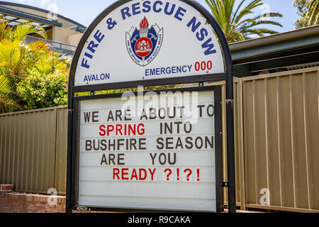 Fire and Rescue NSW fire brigade station and signage warning of bushfire season,Sydney,Australia - Stock Photo