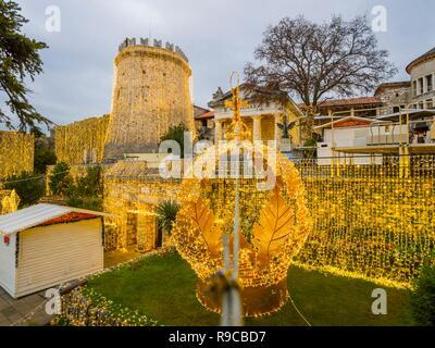 Festive illumination Trsat fort in Rijeka Croatia - Stock Photo