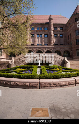 Old Castle entrance of the American Museum of Natural History is stately in springtime, NYC, USA - Stock Photo