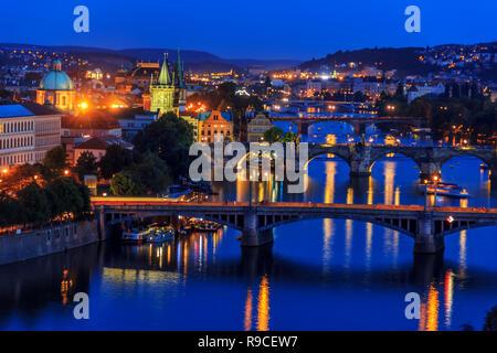 Charles Bridge and other Prague bridges over the Vltava, night v - Stock Photo