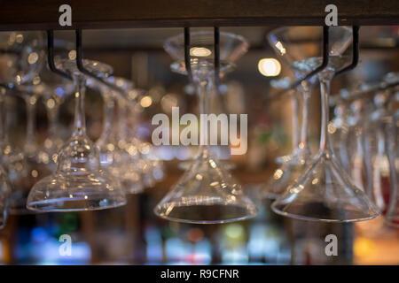 Upside down glasses - Stock Photo