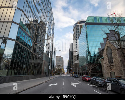 OTTAWA, CANADA - NOVEMBER 10, 2018: Street of Ottawa CBD with buildings of the Ottawa skyline, towers and skyscrapers for Office space. Ottawa is a ma - Stock Photo