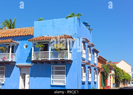 Historic colonial architecture of residential houses in Cartagena de Indies, Colombia, South America. Colorful residence at the corner town square of  - Stock Photo
