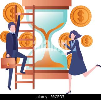 business couple with hourglass avatar character - Stock Photo