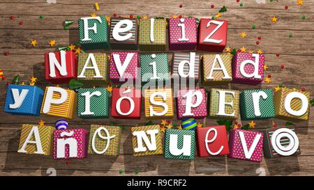 Greeting card: Feliz Navidad y Prospero Ano Nuevo, White letters on colored gift boxes on wooden table forming the message. 3D rendering - Stock Photo