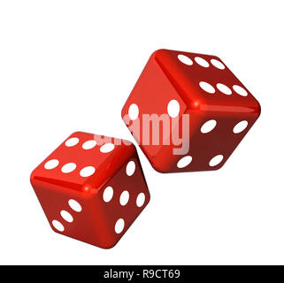 Falling red dice for gambling. Isolated on white background - Stock Photo