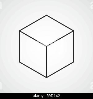 Cube linear icon in flat design. Vector illustration. 3d cube icon - Stock Photo