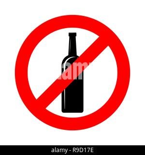 No alcohol sign. Vector illustration. Prohibition sign for alcohol. No alcohol drink sign - Stock Photo