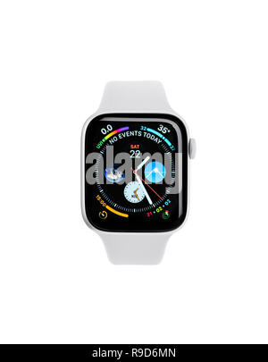 UZHGOROD, UKRAINE - DECEMBER 22, 2018: New Apple Watch 4, 44 inches on a white background. Apple Watch is a line of smartwatches designed, developed,  - Stock Photo