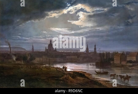 Dresden by Moonlight by J C Dahl (Johan Christian Claussen Dahl: 1788-1857), oil on canvas, 1843 - Stock Photo