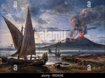 An Eruption of Vesuvius (Boats on the Beach near Naples) by J C Dahl (Johan Christian Claussen Dahl: 1788-1857), oil on canvas, 1821 - Stock Photo