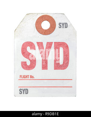 Vintage Retro Sydney Airport Luggage Label Or Tag On A White Background - Stock Photo